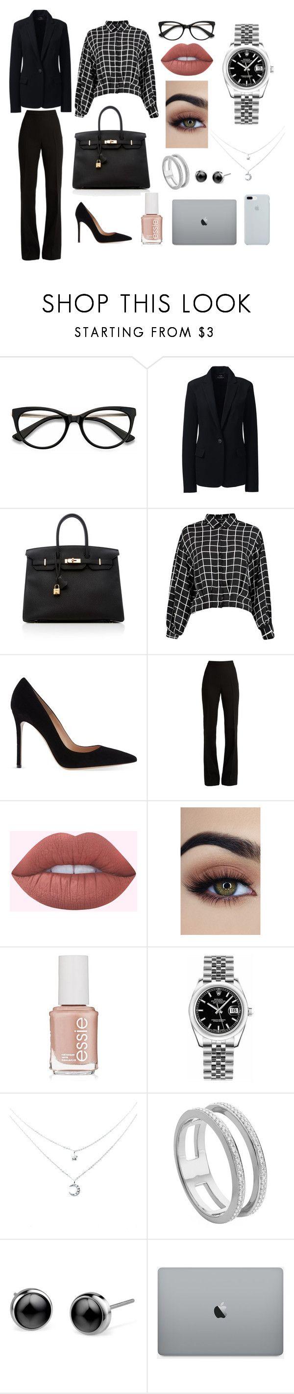 """saco negro"" by patriciaoroscorecalde on Polyvore featuring moda, EyeBuyDirect.com, Lands' End, Hermès, Gianvito Rossi, Giambattista Valli, Essie, Rolex y Monica Vinader"