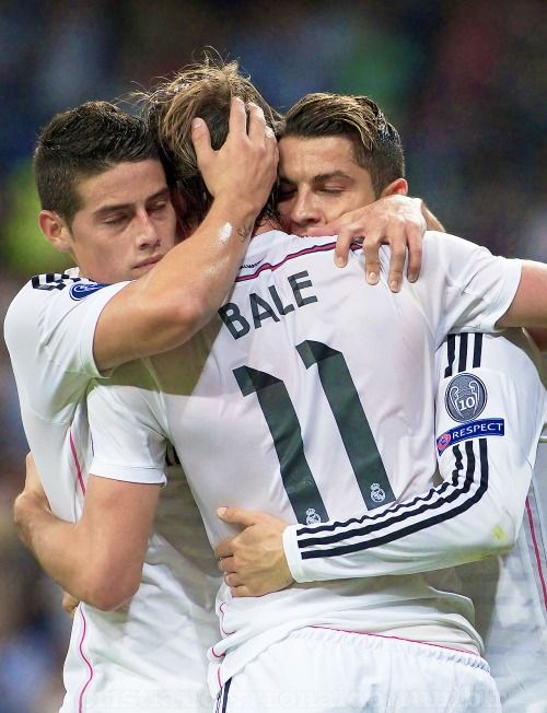 James Rodriguez, Gareth Bale and Cristiano Ronaldo. Haha they look like their in love