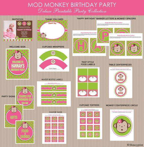 Pink Mod Monkey Birthday Party Package Girl Mod by Honeyprint