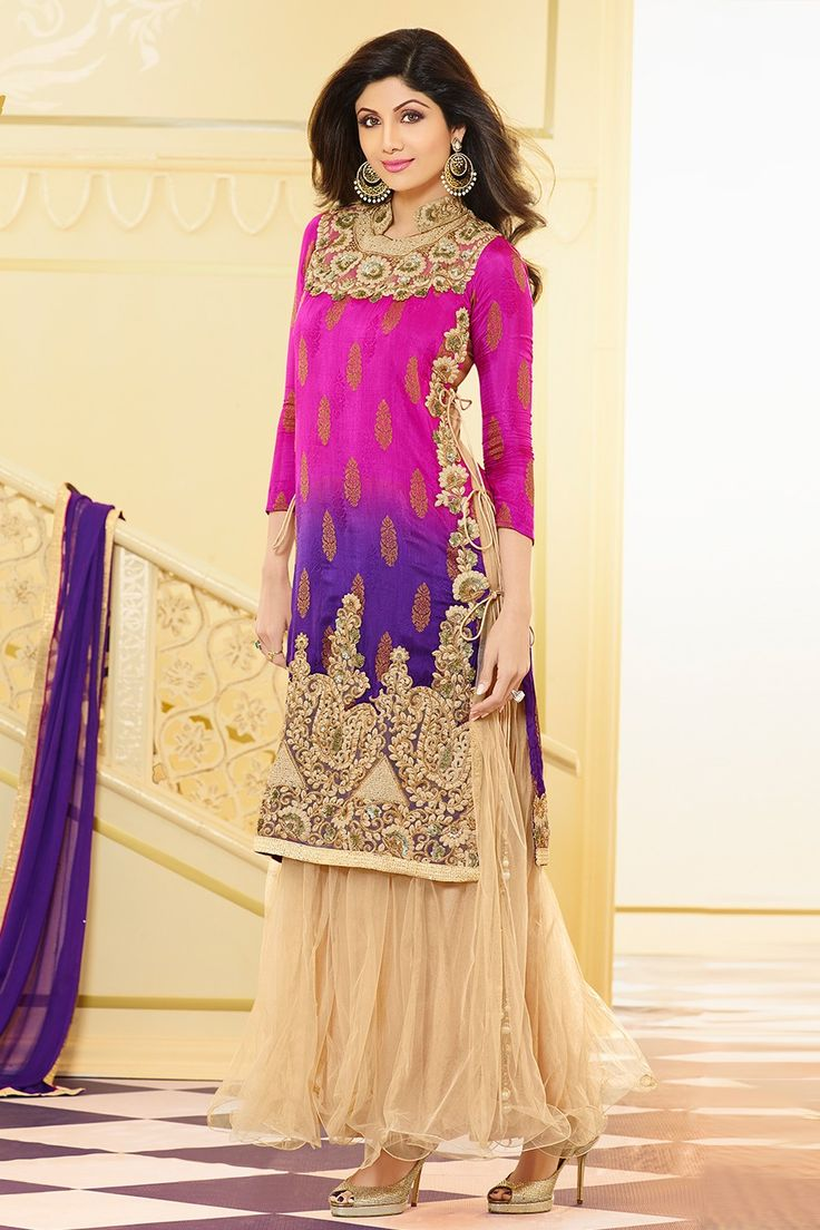 Dresses sarees suits lengha anarkali lehenga pink anarkali lehenga - Ravishing Pink And Beige Straight Suit Dress Material Find This Pin And More On Eid Collection Lehengas Sarees