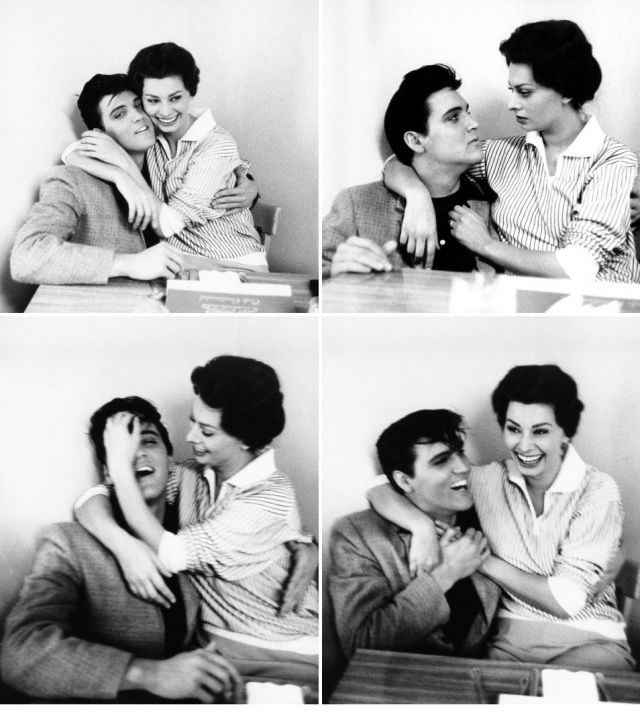 """Presley and Loren, 1958. I did a little digging and found that this meet-cute occurred while Elvis was shooting his King Creole film. """"According to Bob Willoughby [the still photographer], Loren spotted 23-yr-old Presley eating lunch in the Paramount commissary and decided to go over and introduce herself. Which is to say, she promptly sat in his lap, gave him a kiss, and began mussing his carefully sculpted pompadour. He didn't mind."""" Ha!"""