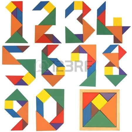 Numbers set, tangram. Isolated on a white background. Stock Photo