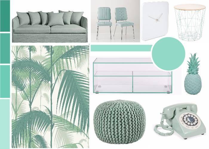 Deco jungle salon planks green color schemes