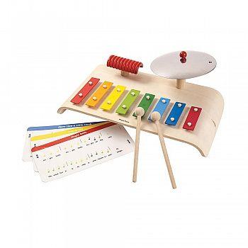 Instrumentset till den lilla musikern med xzylofon, tvättbräda och cymbal. Ekologisk träleksak av hög kvalitet, tillverkad med en pedagogisk tanke.