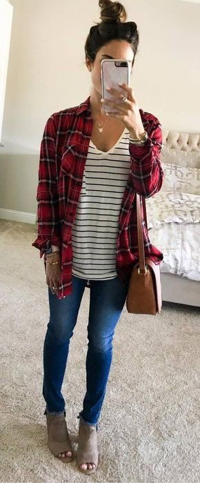 #fall #outfits women's red and white jacket and shirt and with blue jeans