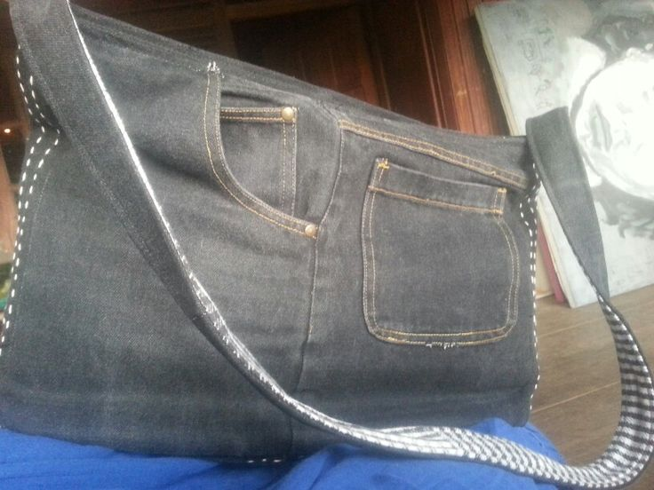 The front of new upcycled jeans bag