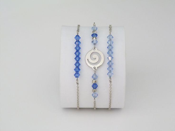 Lot de 3  bracelets bleus en cristal Swarovsk