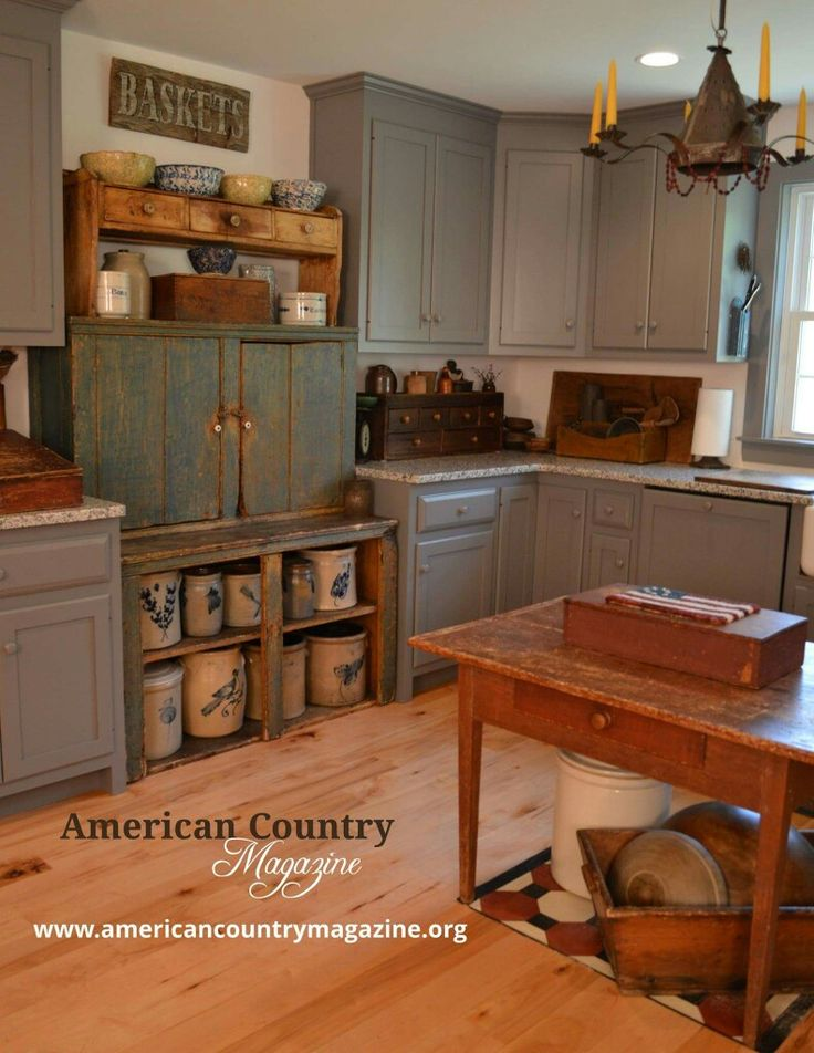 ♡♡Primitive kitchen.. Love the painted cupboards, but am I brave enough to paint my oak cupboards?