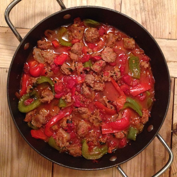 My favorite easy meal Turkey Spicy Italian Sausage with Bell Peppers and Fire Roasted Tomatoes Serve it over pasta yum