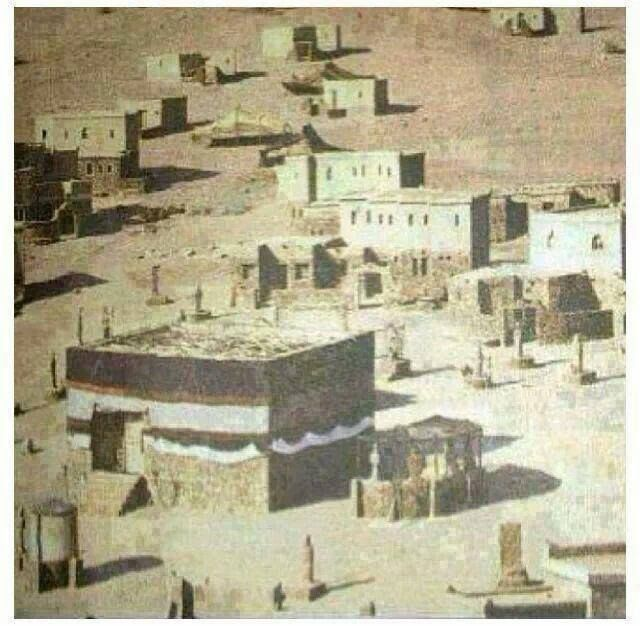 Another very old picture of the Kaaba. Probably during the time of Prophet Muhammed (pbuh), it looked similar. By looking at it, one can also surmise how it looked at the time of Prophets Abraham and his son, Ishmael (peace be on them) who built it more than 4,000 years ago. Beautiful !! All praise be to Allah, The Almighty.