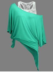 Handkerchief Batwing T-Shirt and Lace Tank Top - LIGHT GREEN