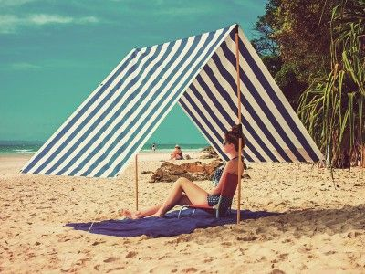 Blue u0026 White Striped Byron Bay Beach Shade - Perfect for Lazy Days at the Beach & 12 best Hit the Beach images on Pinterest | Beach gear Beach ...