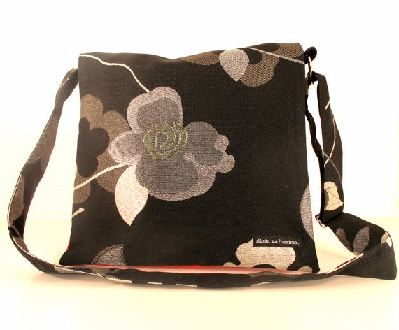 """Messenger Bag in """"Bloom"""" Fabric. Post consumer recycled fabric with ballistic nylon lining and same fabric strap.. $96.00, via Etsy."""