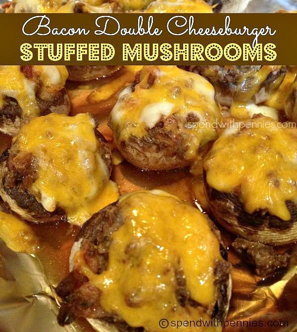 Bacon Double Cheeseburger Stuffed Mushrooms via @Spend With Pennies
