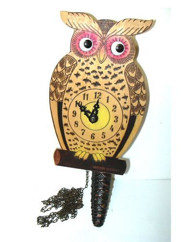 Vintage West German Owl Wall Clock With Moving Eyes Wall