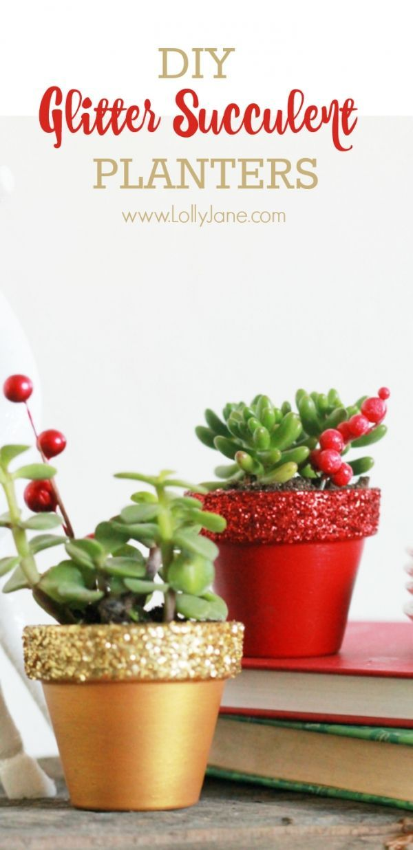 DIY glitter succulents | Easy Christmas decor idea, painted pots with glitter tops.: