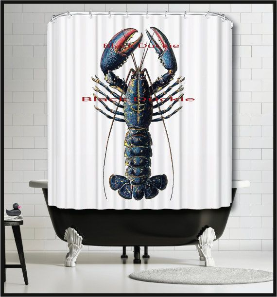 Nautical Shower Curtain Blue Lobster Shower by TheBlackDuckie