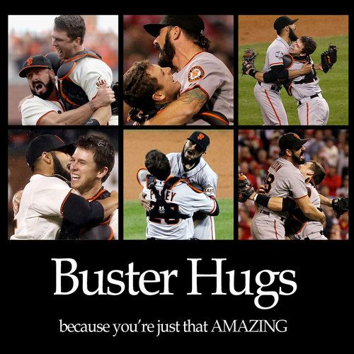 Buster Posey and Joe Panik   Look: Buster Posey Hugs...Great Giants Moments!
