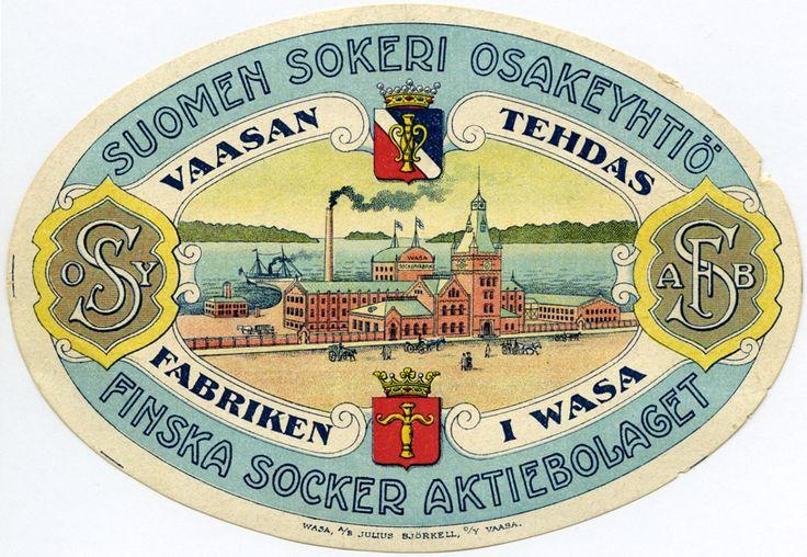 Vaasan tehdas, Suomen Sokeri Osakeyhtiö #Vaasa #etiketit #label