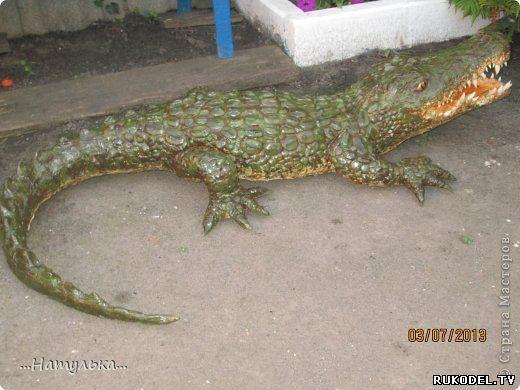 Крокодил, поделка для сада, своими руками. - Поделки для сада - Поделки для сада, огорода - Каталог статей - Рукодел.TV