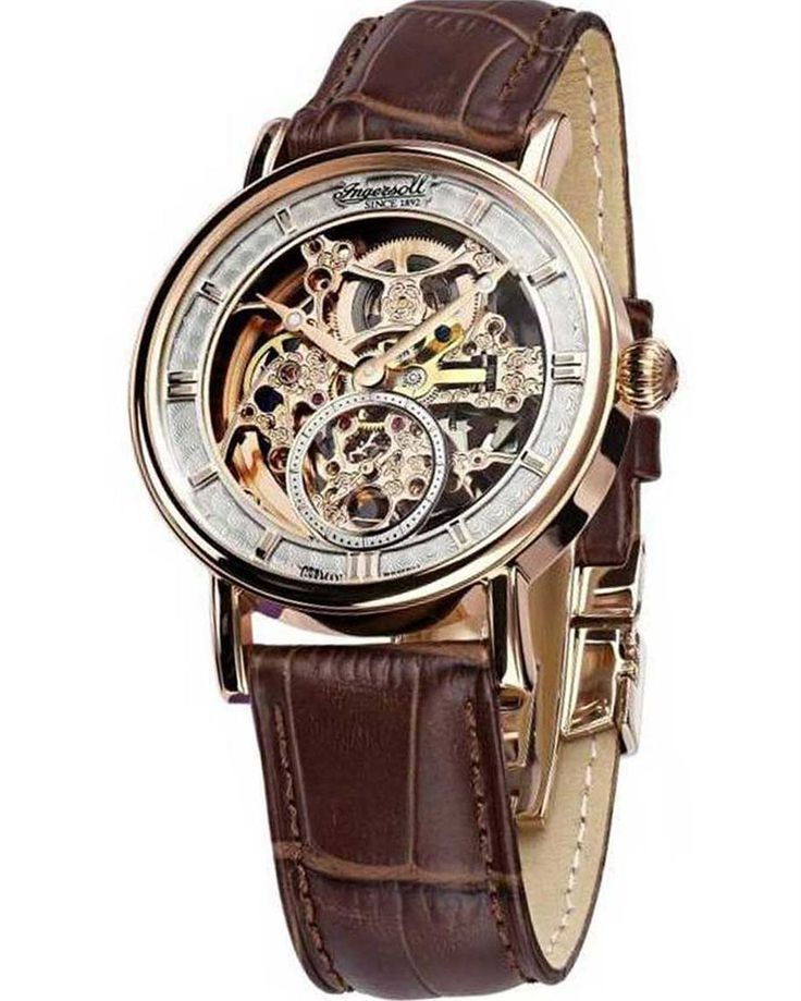 Από την Ingersoll ένα αυτόματο αντρικό ρολόι από Ανοξείδωτο ατσάλι και καφέ δερμάτινο λουράκι.