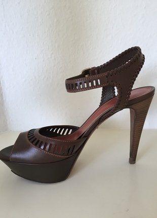 Kaufe meinen Artikel bei #Kleiderkreisel http://www.kleiderkreisel.de/damenschuhe/sandalen/146483480-sergio-rossi-schuhe-39-plateau-sandalen-braun-leder-riemchen-high-heels-sandals-brown