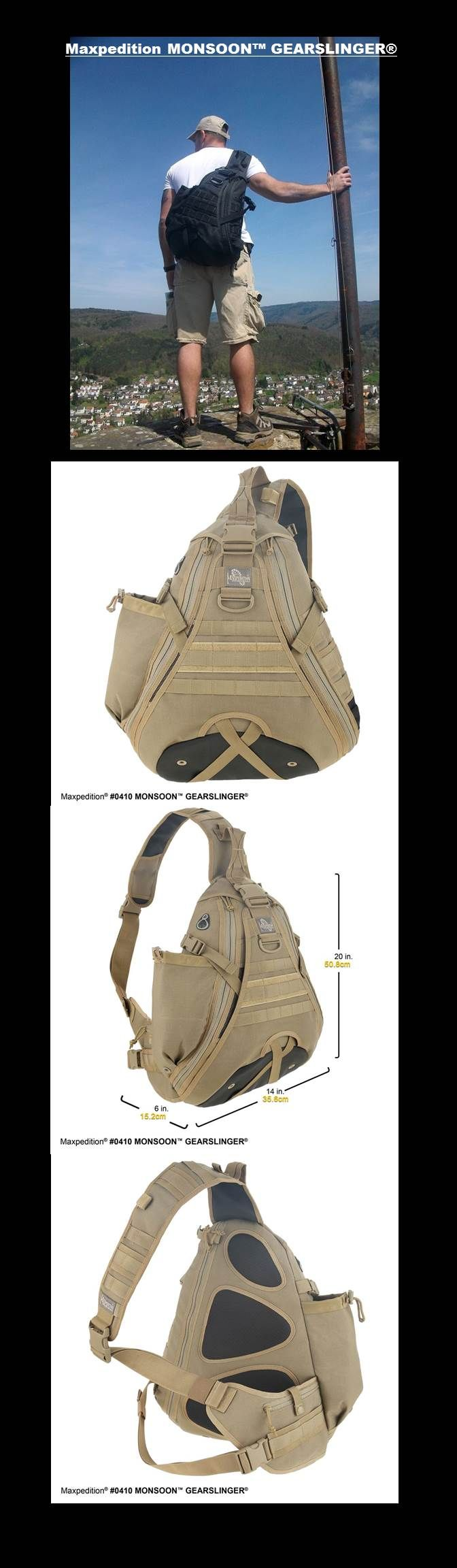 The Monsoon Gearslinger is a popular pack among our customers due to its versatile and easily accessible nature. It is rugged enough for the field but also can be used as an EDC bag in urban & suburban applications. The Monsoon features a unique teardrop shape that hosts a spacious main compartment. The exterior back zipper pocket also functions as a comfortable CCW compartment.  Buy a Monsoon Gearslinger, the original urban tactical pack!  VIVIAN HAS HERS..LOL