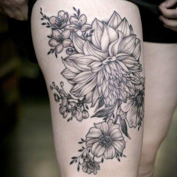 1000 Ideas About Flower Thigh Tattoos On Pinterest Hip