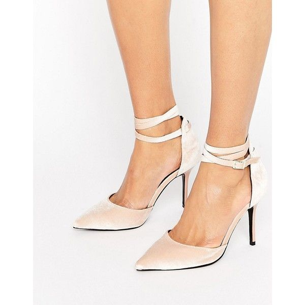 ShoeLab Tie Ankle Court Shoe ($61) ❤ liked on Polyvore featuring shoes, pumps, beige, ankle strap high heel pumps, pointed toe high heel pumps, ankle strap pumps, beige shoes and velvet pumps