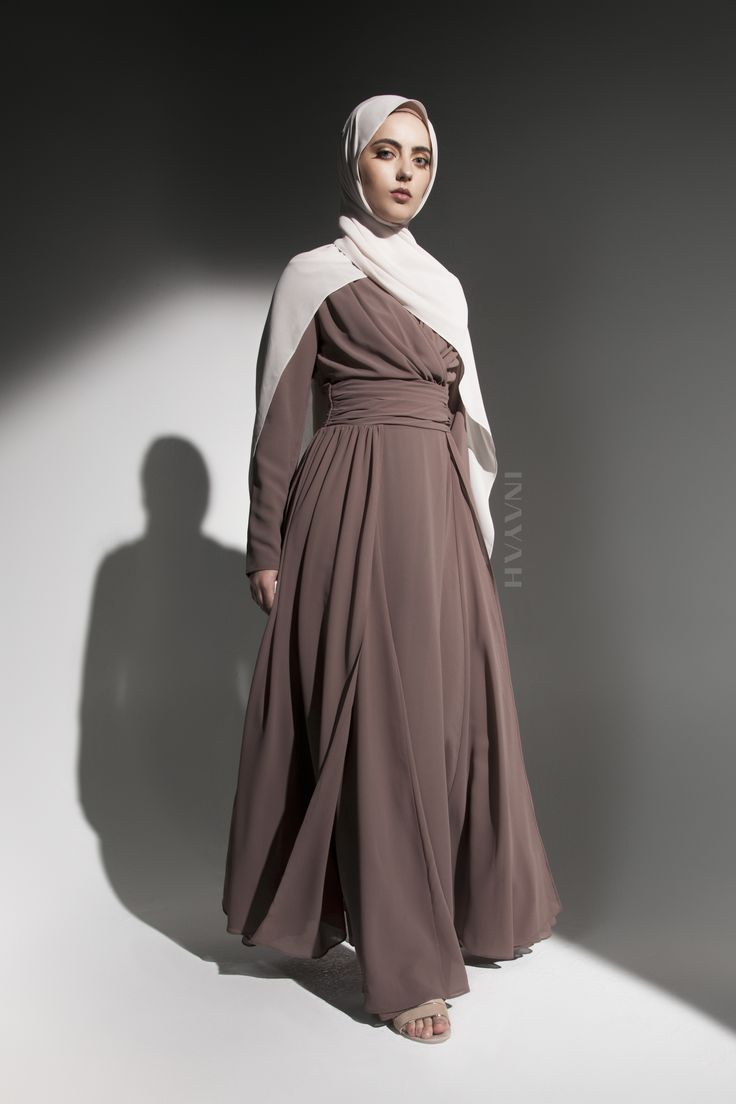 INAYAH   Occasion pieces made for the modest woman; channel sophistication and class - Mocha Layered #Evening #Gown + Oatmeal Soft Crepe #Hijab - www.inayah.co