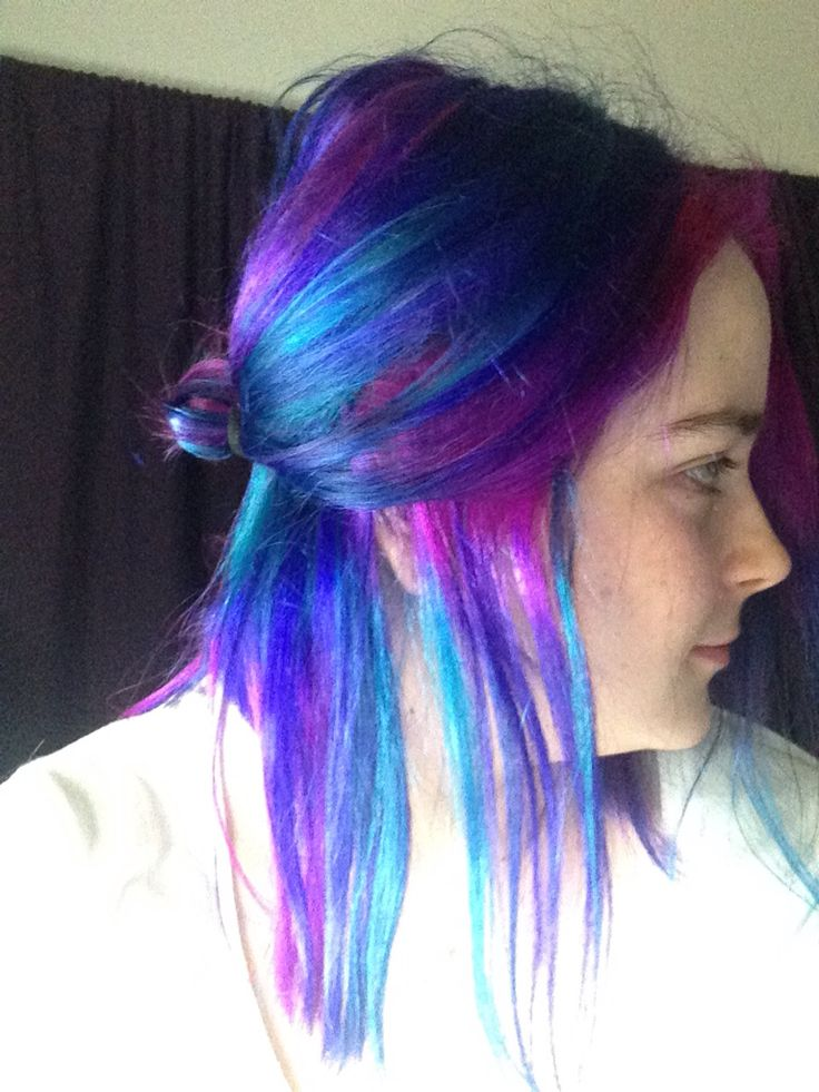 Galaxy, mermaid, unicorn, rainbow hair!!! Blue/turquoise, pink and purple!!!