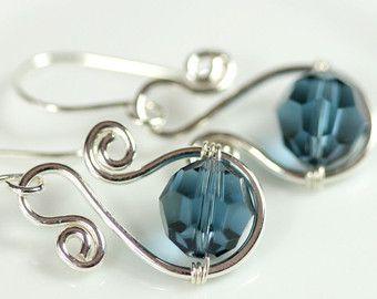 Emerald Earrings Wire Wrapped Jewelry Handmade Sterling Silver Jewelry Handmade…