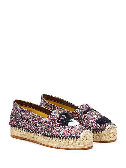 Chiara Ferragni - Flat shoes - Women - Scarpa bassa in glitter con applicazione frontale e suola in gomma. Tacco 35, platform in corda. - MULTICOLOR