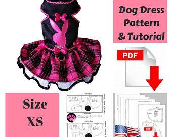 Dog clothes Patterns Dog dress Pattern Dog clothes small dog Pattern Dog clothes Dog dress Small dog clothes Dog clothes Pattern Size XS