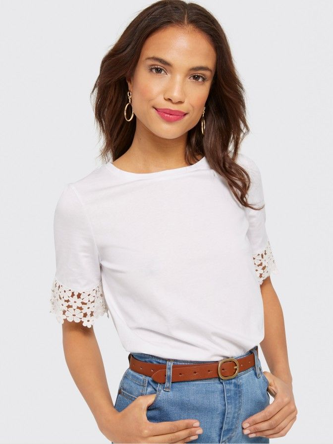 With its slightly roomy silhouette and feminine lace detailing at the cuffs, our Palmetto Lace Tee is an instant favorite. Try it with broken-in denim and boots for a casual take, or dress it up with some sparkly jewelry for dressier occasions.