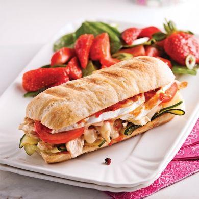 Paninis au poulet, brie et pesto - Recettes - Cuisine et nutrition - Pratico Pratique