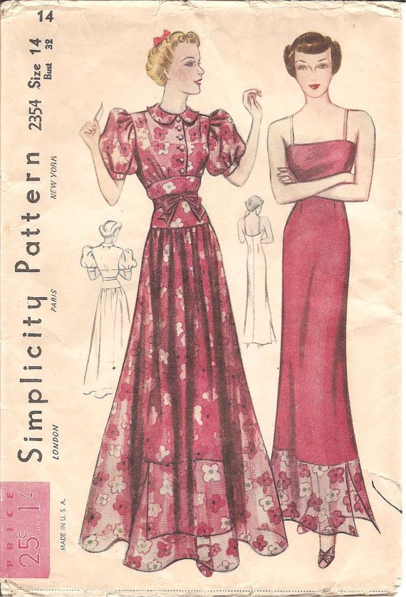 1930s Womens Dinner Dress and Slip Pattern Simplicity 2354 by ErikawithaK,
