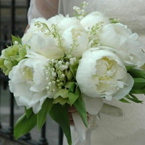 White Peonies, White Lily Of The Valley, Green Hellebores + Green Foliage Wedding Bouquet