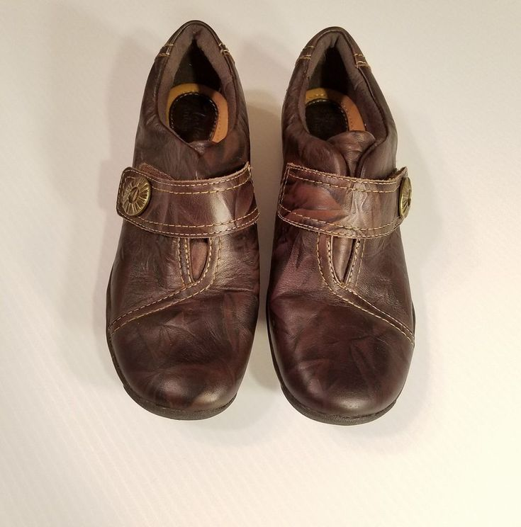 Black Leather Clarks Artisan Chunky  Wedge Slip On Casual Shoes Size 6UK