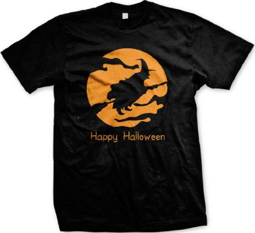 Happy Halloween Wicked Witch On Broom Mens T-shirt Cheap Easy Halloween Costume ...