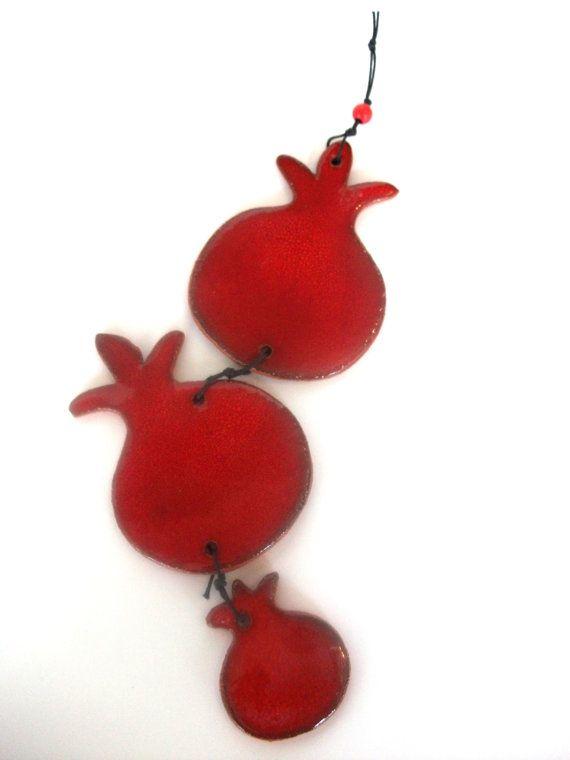 Ornament Of Three Red Ceramic Pomegranate Wall by NuritCeramics, $18.00