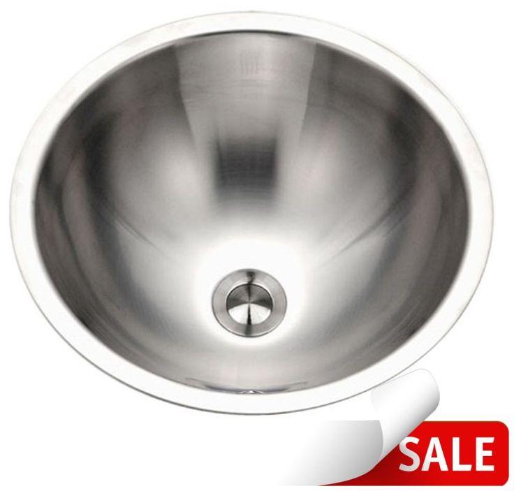 """Houzer CRTO-1620 Opus 16-3/4"""" 18-Gauge Stainless Steel Drop In Bathroom Sink wit Stainless Steel Fixture Lavatory Sink Stainless Steel"""