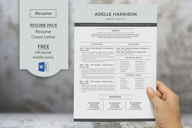 Modern resume templates for Word by Inkpower on @creativemarket