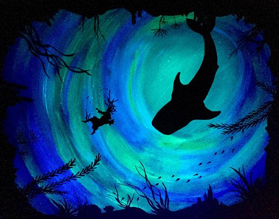 Jonah and the big fish Bible Art Glow in the dark custom painting ocean decor JW biblical home decor and gifts