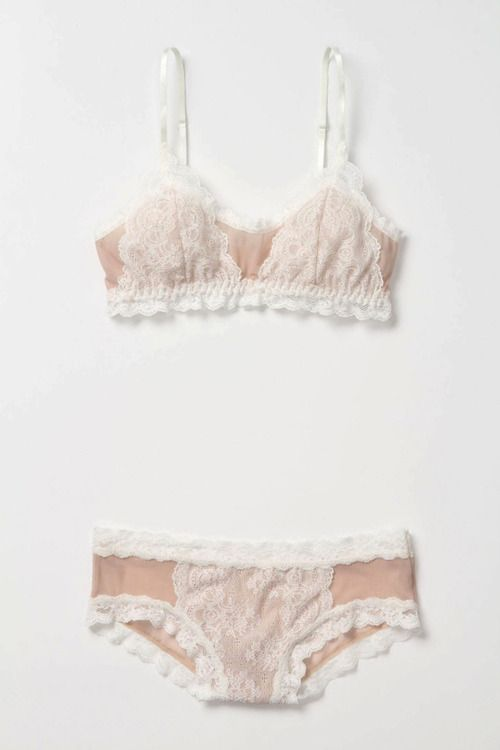 Jenna Fifi: powder pink + white lace + comfy cut: practical, sweet & sexy ~