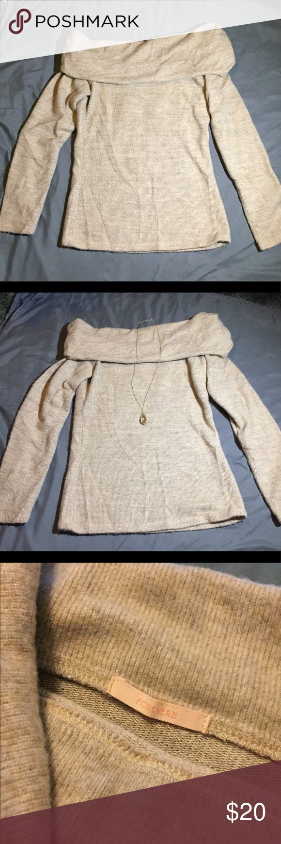 Romantic Off the Shoulder Cozy Bardot Sweater Cute and cozy- the best combination! This off the shoulder sweater is so soft and can be worn in so many ways. Size medium, but would also look good & have a nice relaxed fit on someone who wears a small. Great condition, gently loved. Any questions, feel free to ask!  (Note: necklace in picture is not for sale at this time) Forever 21 Sweaters