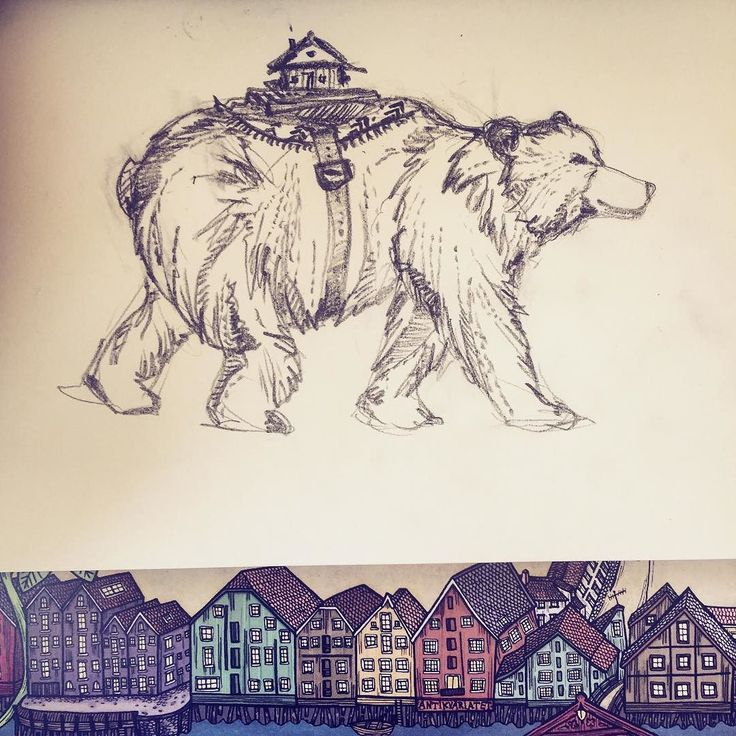Sketching our mobile home: Grizzlybjørn  #ontheroad #bjørn