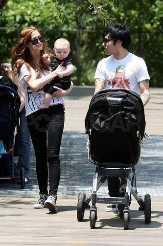 Ashlee Simpson with her Orbit Baby stroller