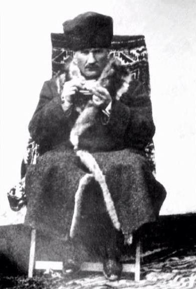Mustafa Kemal (Atatürk), dressed in a winter-coat. Ca. 1925.. Early-Republican urban fashion.
