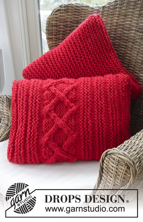 "Lovely and easy pillows in 2 strands ""Eskimo"" - Free #knitting pattern by DROPS Design"